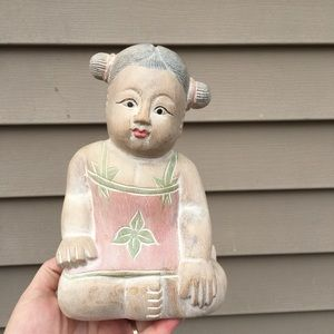 Chinese girl carved statue door stop